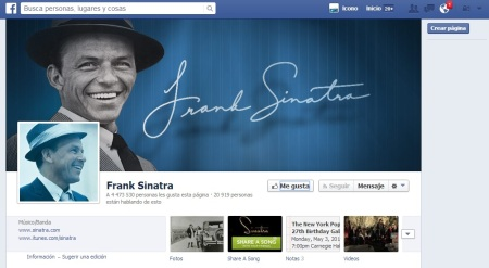 Accede al FACEBOOK de Sinatra (Fanpage)