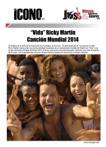 Ricky Martín Mundial Brasil 2104