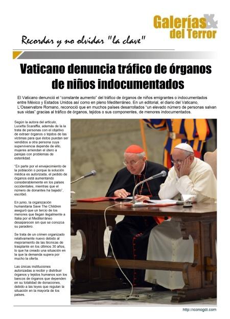 Denuncia de S.S. Francisco en el Vaticano s/Tráfico de Organos